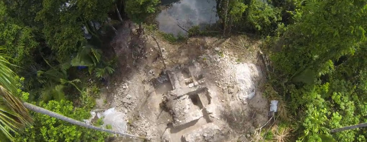 Water god temple at Cara Blanca, Belize (Image from National Geographic video)