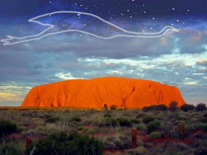 Ayers Rock with Emu constellation