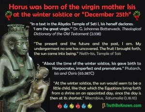Horus born of a virgin on December 25th