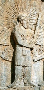 Taq-e Bostan: High-relief of Ardeshir II (Photo: Philippe Chavin)